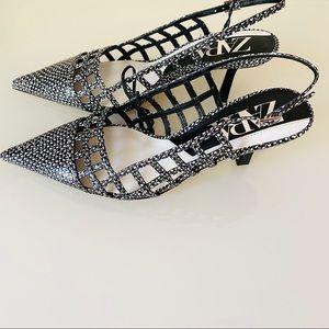 Zara Black White Animal Print Slingback Heels SZ 8